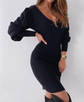Γυναικείο Φόρεμα με ανοιχτή πλάτη party dresses warm lace sleeve v-neck