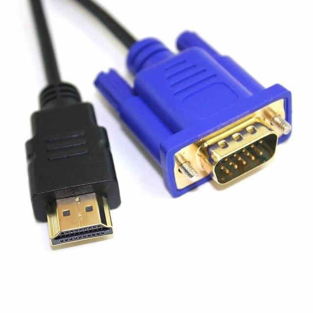 HDTV HDMI złoty męski do VGA HD-15 mężczyzna 15Pin kabel Adapter 6FT 1.8M 1080P