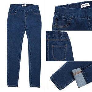 Image 5 - 11.11 Autumn Winter minimalist Women Denim Skinny Stretch Fake Front Pocket Medium Waist Washed Blue Slim Elastic Lady Jeans