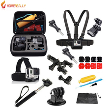 цена на TENZERO Gopro Accessory Set Gopro Kit Mount For Gopro Hero 5 4 3 2 Black Edition SJCAM SJ5000 Action Camera Case Chest Tripod