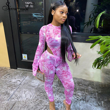 Simenual Pink Mesh See Through Sexy Hot Matching Club Women Flare Sleeve Bodycon 2 Piece Outfits Party Bodysuit And Pants Sets