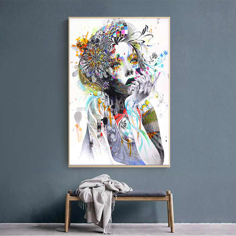 RELIABLI ART Nordic Poster Watercolor Beautiful Sexy Girl Flower Butterfly Modern Fashion Decorative Pictures Wall Pictures