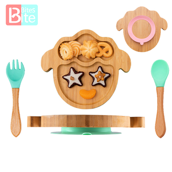 3PC miska do karmienia niemowląt płytki talerz dla dzieci Cartoon owce bambusowe naczynia do karmienia dzieci z silikonowe przyssawki drewniane widelec łyżka