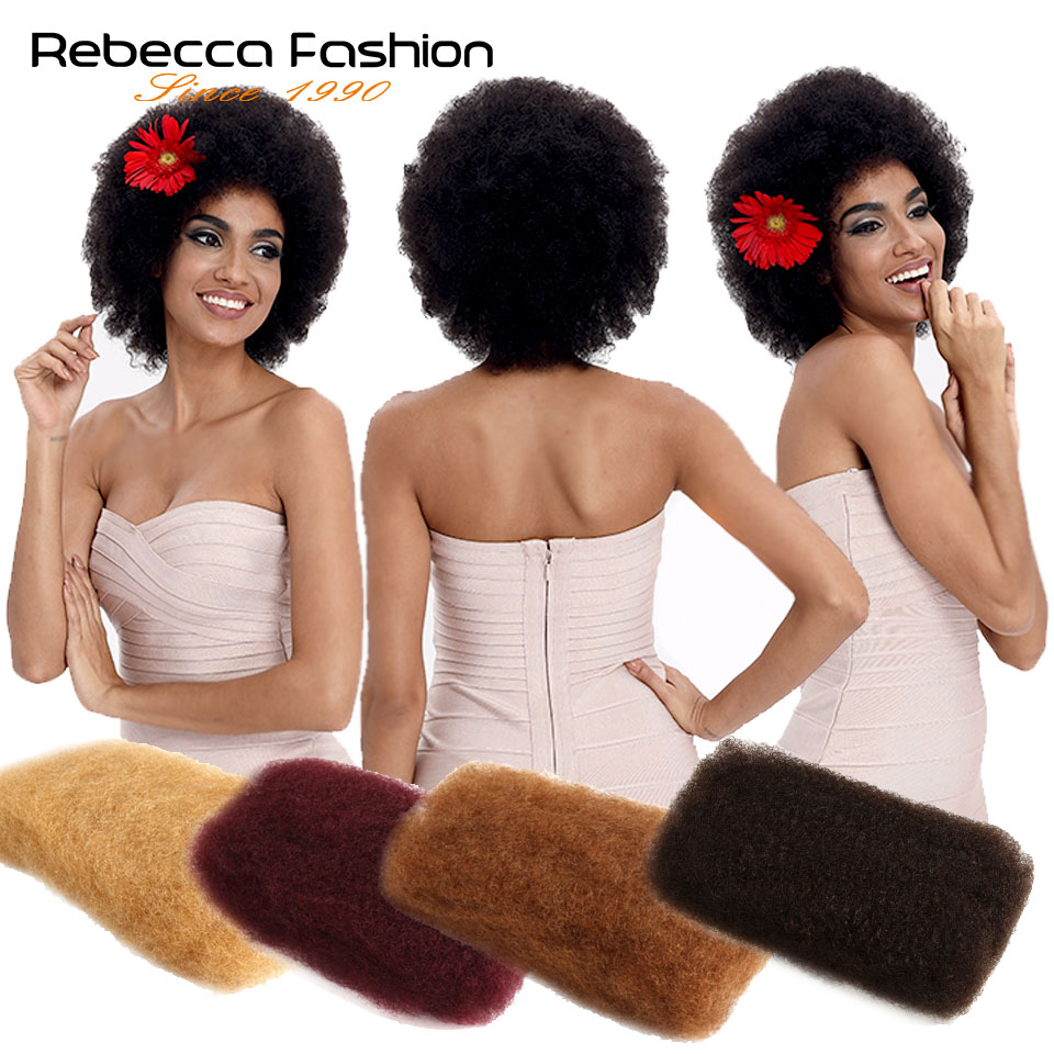 Rebecca Brazilian Remy Hair Afro Kinky Curly Bulk Human Hair For Braiding 1 Bundle 50g/pc Natural Color Braids Hair No Weft
