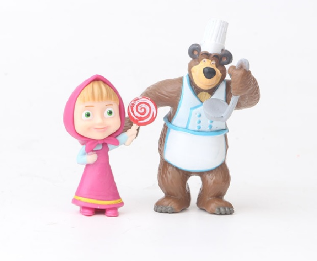 Masha And The Bear Cartoon Cute PVC Action Figure Cake Topper Doll Toy Gift Set