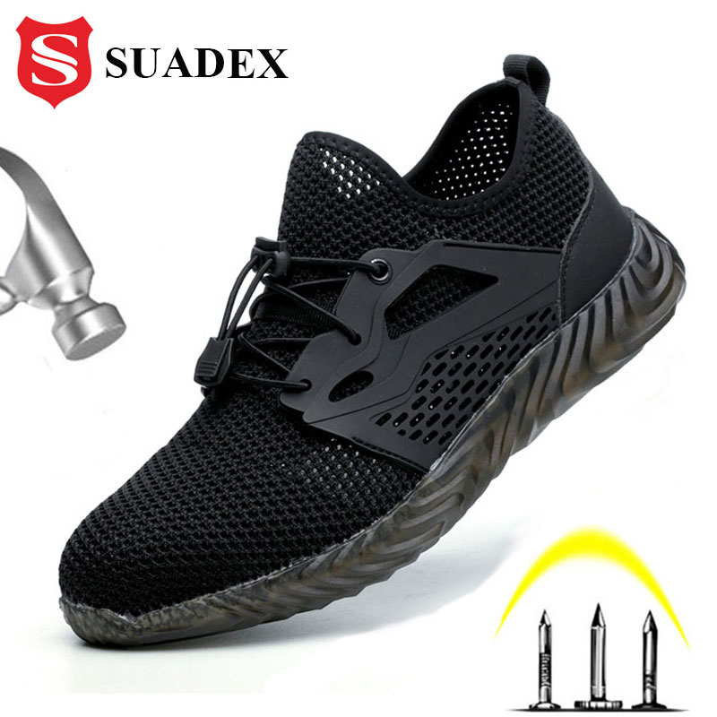 SUADEX Safety Shoes Breathable Mens Work Shoes Anti-smashing Industrial Steel Toe Cap Sneakers Puncture Proof Plug Size 36-48