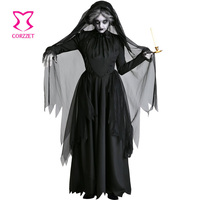 Role Playing Black Ghost Bride Veil & Asymmetric Long Dress Horror Vampire Cosplay Halloween Costumes For Women Party Clubwear