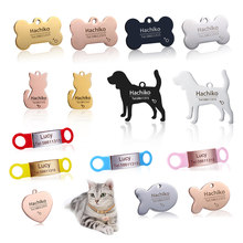 YVYOO Nuovo gatto del cane tag ID Spedizione incisione cane Collare dell'animale domestico di Fascino pet nome Osso ciondolo Collana Collare Del Cucciolo Del gatto collare accessori BB(China)