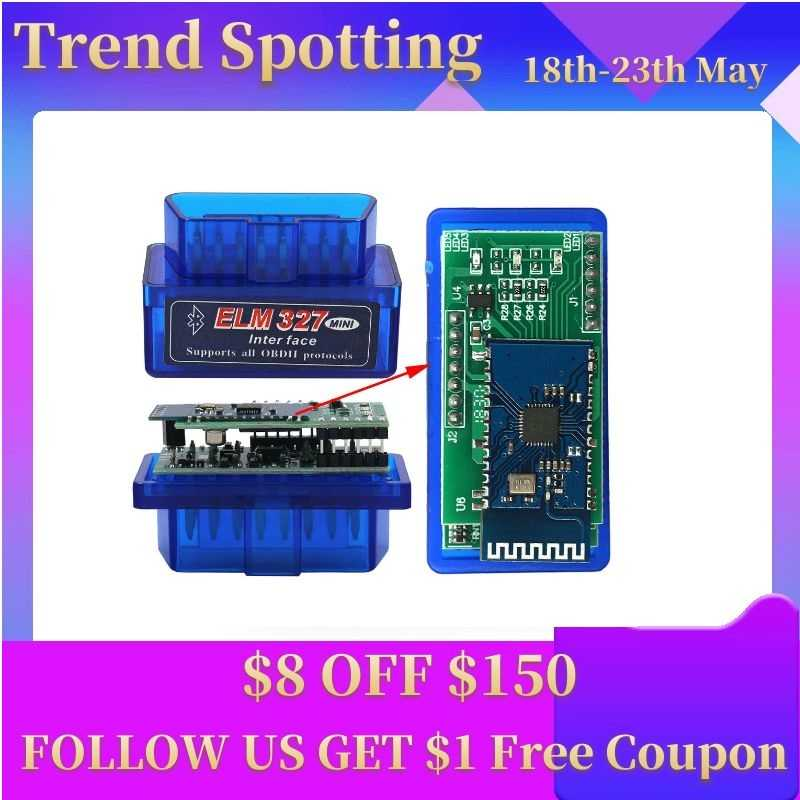PIC18F25K80 ELM327 Bluetooth V1.5 Mini ELM327 OBD2 Máy Quét ELM327 V1.5 OBD2 Adapter Bluetooth OBD2 ELM327 V1.5 Cho Android/PC