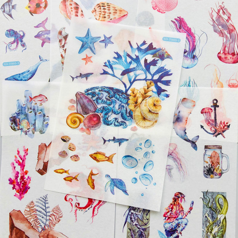 6 Sheets /Pack Undersea Whale Shell Mermaid Jellyfish Paper Sticker DIY Album Decor