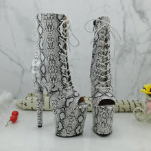 Leecabe witte kleur snake skin Pole dance boot met 20 CM/8 inch Hoge Hak platform Laarzen open teen pole Dance boot(China)