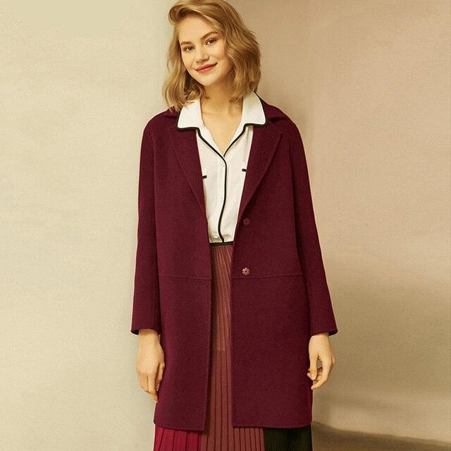 Herbst Winter Frauen Wolle Mäntel 2019 Neue Koreanische version Hohe Qualität Jacken Schlank Cardigan Woolen Frauen Jacke Mantel Rot