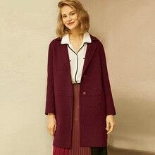 Sonbahar kış bayan yün paltolar 2019 yeni kore versiyonu yüksek kaliteli ceketler ince hırka yün kadın ceket ceket kırmızı