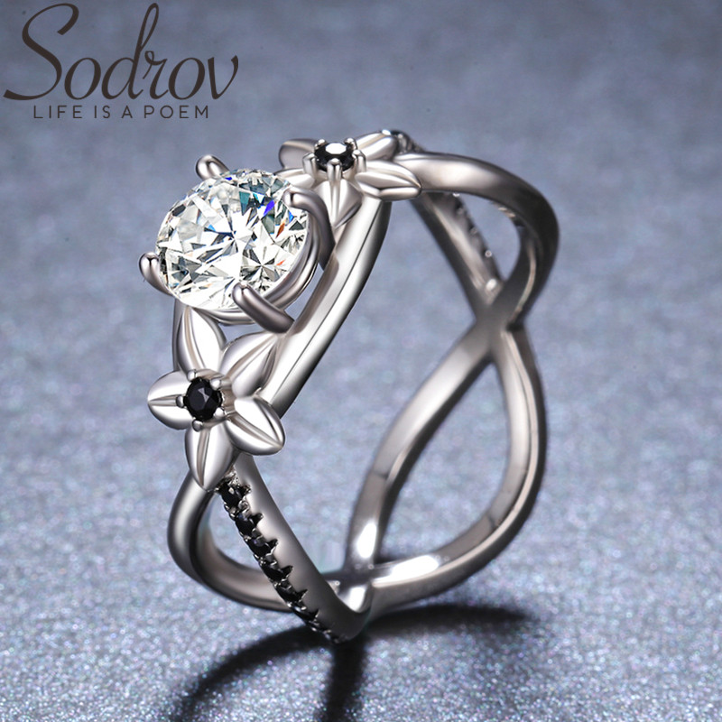 SODROV 925 Sterling Silver Jewelry Finger Ring Leaf Black Spinel Rings For Women Female Bague Silver 925 Jewelry GG095