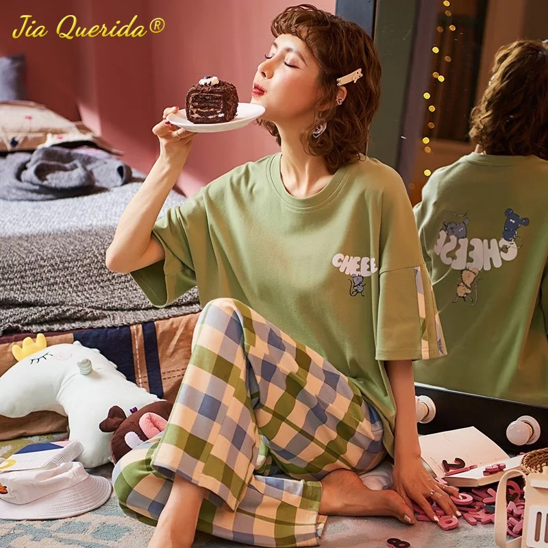 Spring Crew Neck Loose Woman Clothes Pajamas for Women Loungewear Pjs Sleepwear Short Sleeve Plaid Pants Homesuit Homeclothes