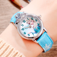 Disney Kids' Children Watches Frozen 2 Queen Elsa Princess Anna Waterproof Leather Watchbands Quartz Watch