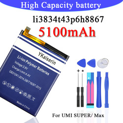 For UMI SUPER 5100mAh Battery Li3834T43P6H8867 New High Quality 5100mAh Li-ion Replacement Battery for UMI SUPER Smartphone