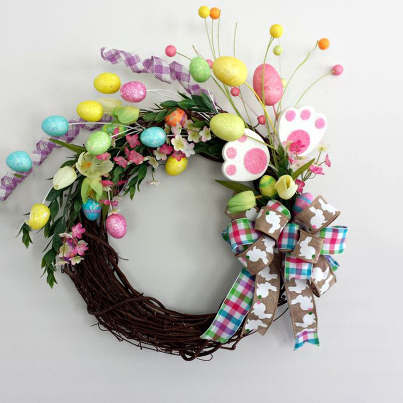 Handmade Easter Decoration Garland Natural Rattan Wreath Door Wall Ornament Hanging Garland Decoration Easter Decor For Home