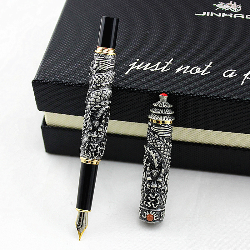 Jinhao Vintage Rollerball Pen Double Dragon Playing Pearl 3D Embossed Red Copper