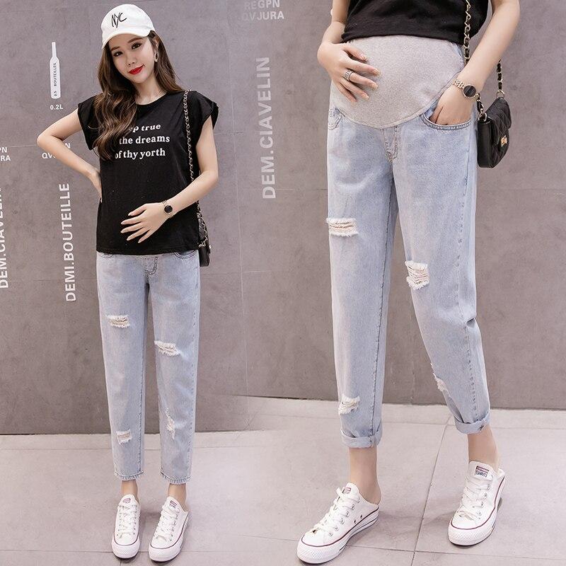 Maternity Jeans 2020 Pregnancy Clothes Denim Trousers For Pregnant Women Plus Size Hole Jeans Maternity Denim Pants