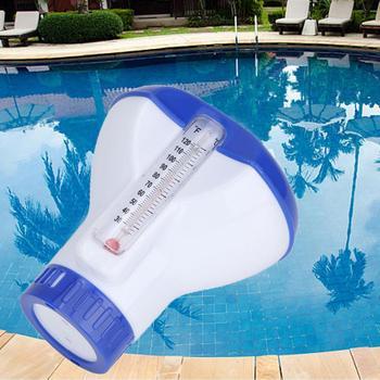 Termometr automatyczna dezynfekcja pływające pigułka na wodę porywczy basen lek dozownik basen akcesoria 5 Cal tanie i dobre opinie Swimming pool float dispenser
