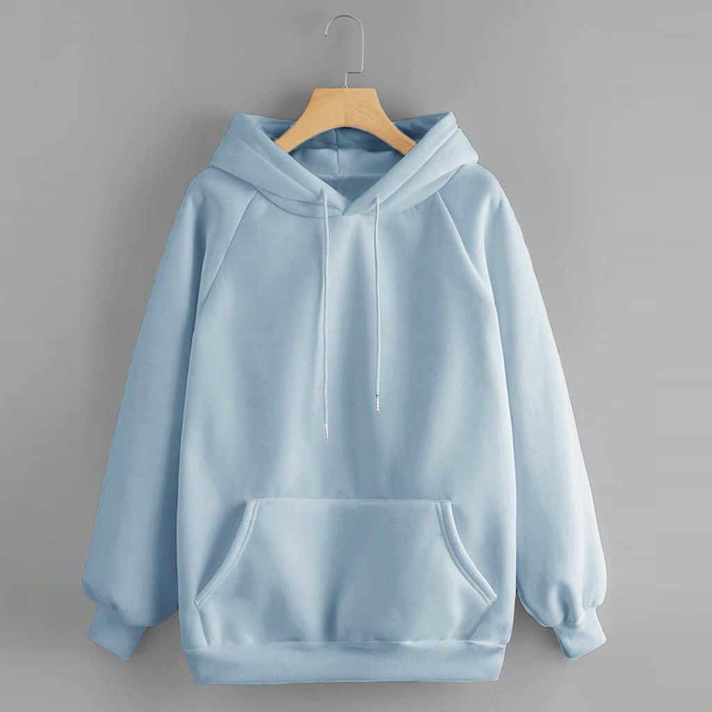 Feitong Sweatshirt 2020 Vrouwen Casual Solid Hooded Pocket Lange Mouw Sweatshirt Top Blouse Voor Vrouwelijke