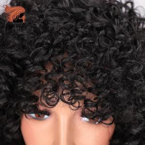 Image 4 - ELEGANT MUSES Synthetic Short Hair Afro Kinky Curly Wig for Women Black Hair High Temperature Fiber Mixed Brown and Blonde Color