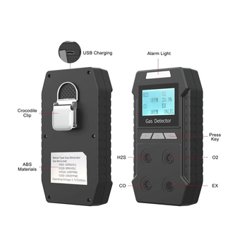 Portable Gas Detector 4 in 1 Alarm Monitor Multi Leak Rechargeable Natural Air Quality with Sound