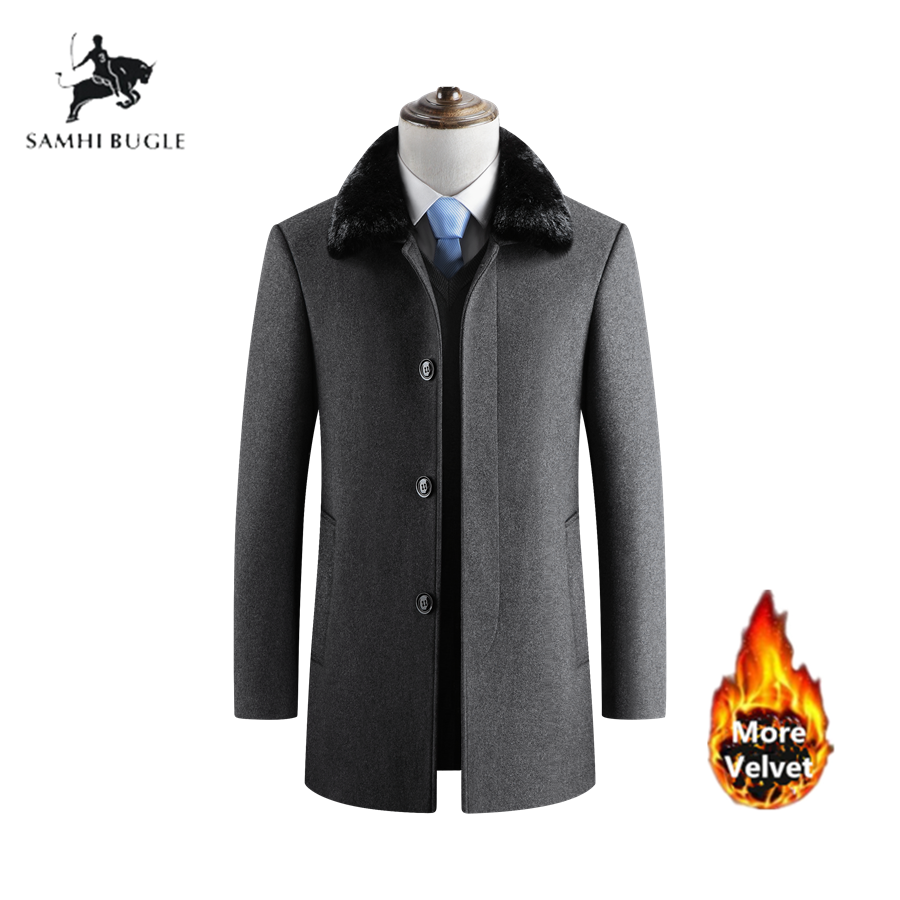 Casaco Masculino Abrigo Winter Coat Men Wool Coats Thicken Men Woolen Coat Warm Overcoat Fur Collar Mens Wool Winter Coats Jacke