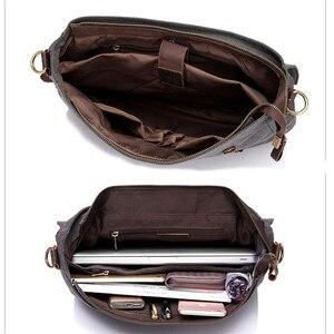 Image 4 - VASCHY Men Vintage Briefcase Genuine Leather Canvas Messenger Bag for Men Business Shoulder Bag Fits 14 inch Laptop Handbag