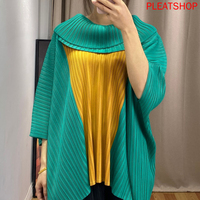 Miyake Pleated Spring And Summer New Style Mixed Colors T shirt Fashion Loose And Plus sized Slimming Bat Sleeve Tops tee shirt