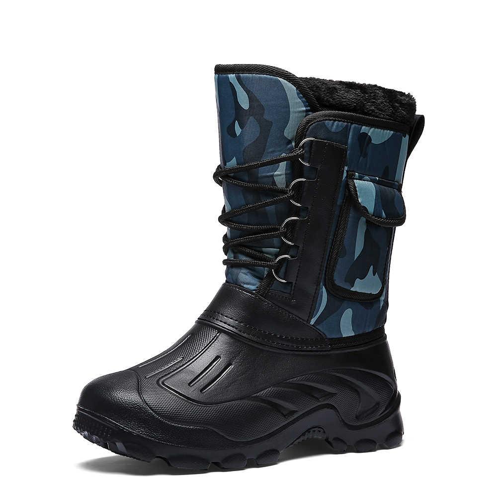 Erkek kışlık botlar ışık çalışma balıkçılık yağmur botları erkek su geçirmez kamuflaj ayakkabı sıcak kürk peluş erkekler orta buzağı kar botu