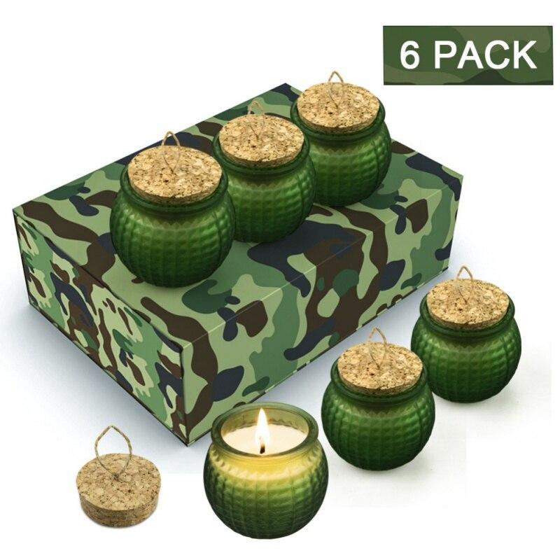6 pièces bougie Style armée créative pour Grenade en forme de bougie parfumée cire de soja plante huile essentielle sans fumée bougie cadeau SetHF
