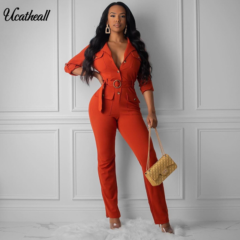 Button Up  Belted Pocket Jumpsuit For Women  Solid Color White Rompers Womens Jumpsuit Casual Loose Pocket Stright Romper