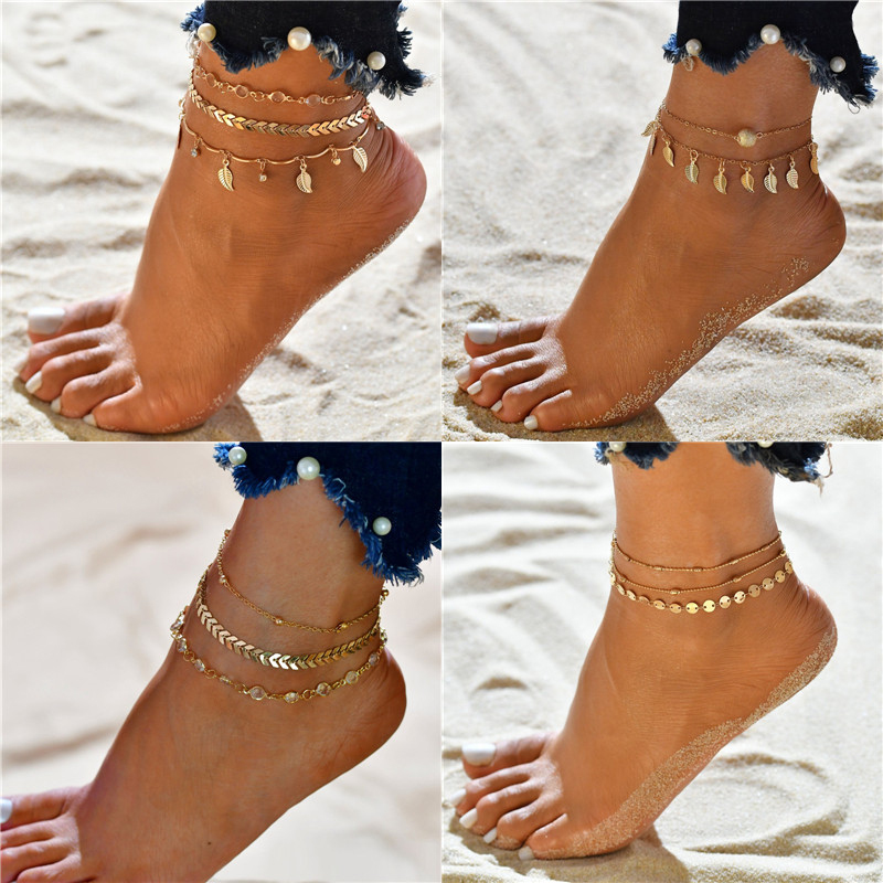 Vagzeb 3Pcs/lot Crystal Sequins Anklet Set Beach Foot jewelry Vintage Ankle Bracelets For Women Summer Jewelry Party Gift