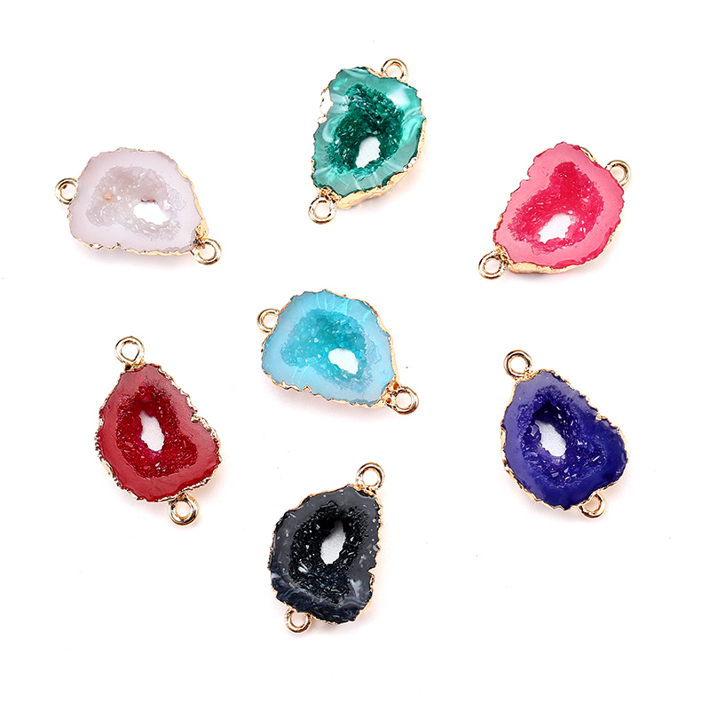 Druzy Drusy Stone Connectors for jewelry Making 5 pcs Natural Agate Crystal Bud Bracelet Pendant Necklace Charming Connectors
