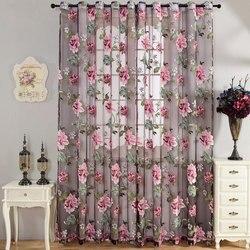 Fioletowy w kwiaty tiul prześwitujące firanki okienne do salonu europa woal zasłonki kuchenne zasłony z tiulu niestandardowe rolety do domu