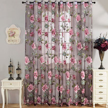 Purple Floral Tulle Window Sheer Curtains for Living Room Europe Voile Curtain Kitchen Drapes Custom Door Blinds Home