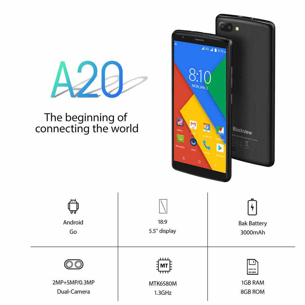 """Blackview Original A20 Smartphone 5.5 """"1 GB + 8GB MTK6580M Quad-Core Android GO 18:9 écran 3G double SIM mode téléphone Mobile mince"""