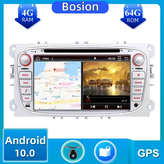 Autoradio 2 الدين أندرويد 10.0 مشغل أسطوانات للسيارة راديو لفورد فوكس مونديو s ماكس كوجا c ماكس واي فاي عجلة القيادة السيطرة dab 4GB + 64GB