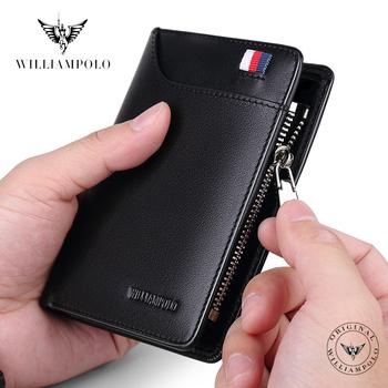 WILLIAMPOLO skórzany portfel męski z kartą mały męski portfel portmonetka portfele na zamek błyskawiczny codzienne standardowe portfele PL293 tanie i dobre opinie Prawdziwej skóry Skóra bydlęca CN (pochodzenie) Krótki 0 5KGS Skóra syntetyczna 1 5cm Leather Stałe Moda Zdjęcie holder