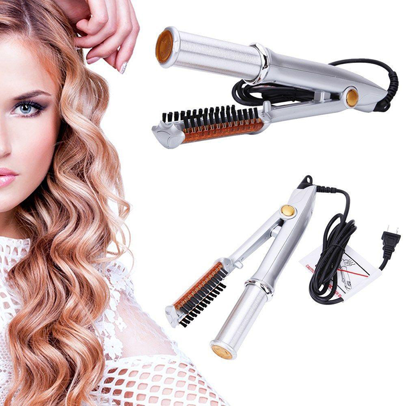 Hair Curler and Straightener Professional Hair Styling <font><b>2</b></font> in <font><b>1</b></font> Hair Styler Silver Rotating Hair Brush Straightening Curling Iron image
