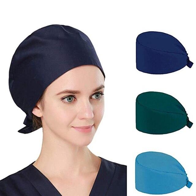 3Pc Frosted Cap Nurse Cap Work Bag Head Dust-Proof Sweat-Proof Belt Isolation Protective Cap 1