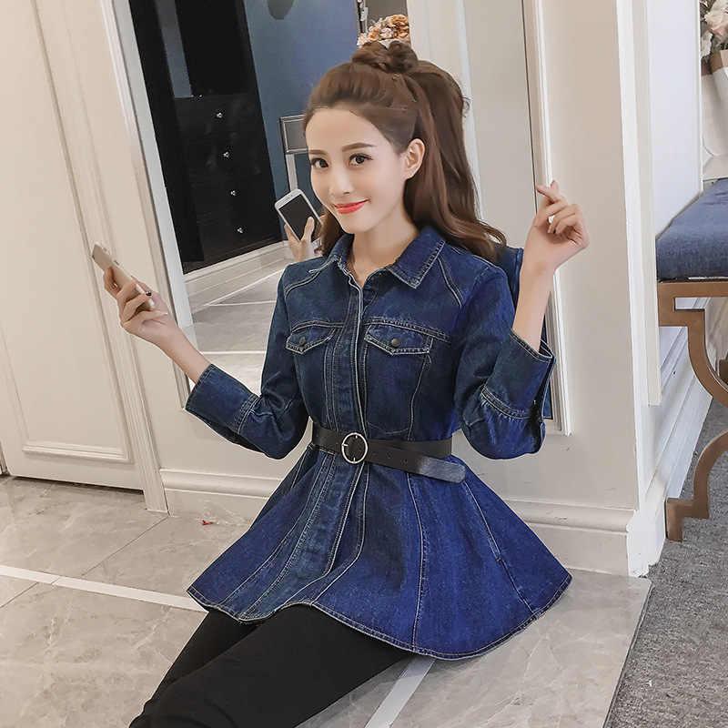 Gaya Korea Wanita Slim Denim Pendek Mantel Fashion Merek Turn-Down Kerah Lengan Panjang Belt Atasan Jaket Jeans Wanita streetwear