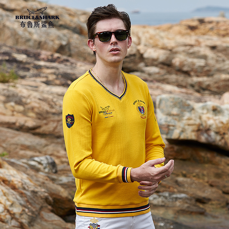 Bruce &shark High Quality Men Sweater Embroidery Casual Fashion Long Sleeve Male Sweater Thick Loose Knit Sweater Big Size 4Xl