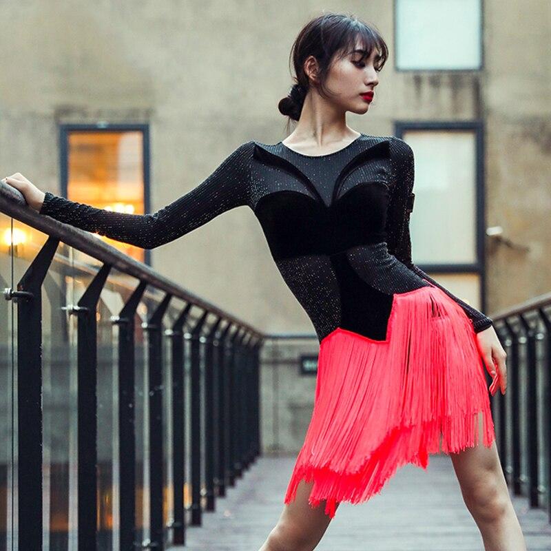 Robe de danse latine femmes Sexy robe à manches longues concours robe à franges glands rouge/noir Salsa Performance robes latines BL2620