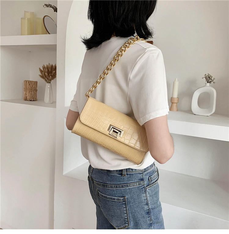 Crocodile Pattern Vintage Soild Color Small Square Bag For Women 2020 summer Handbag And Small Chain Bags Fashion Armpit Bag (7)