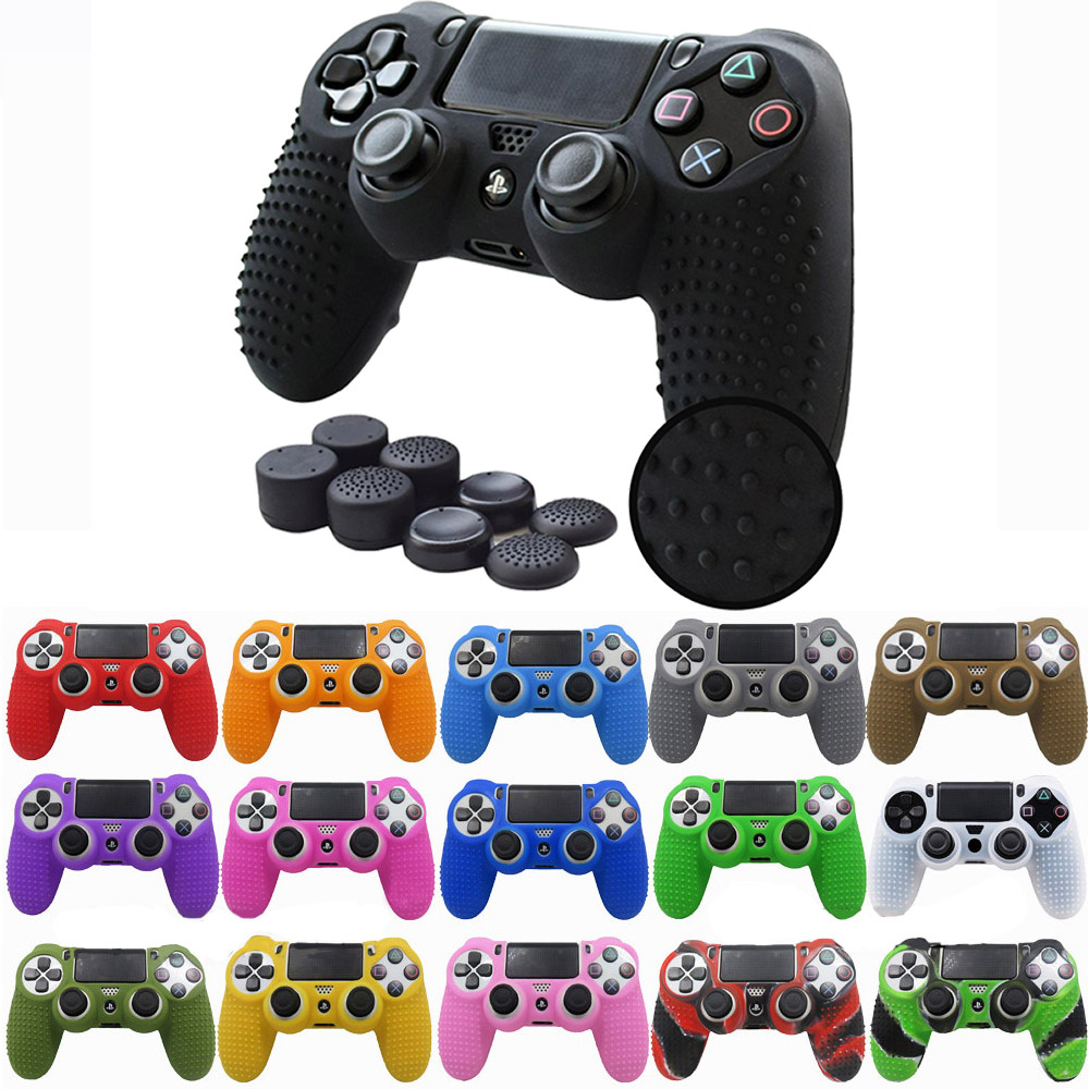 ZOMTOP  Anti-slip Silicone Cover Skin Case For Sony PlayStation Dualshock 4 PS4 DS4 Pro Slim Controller & Stick Grip