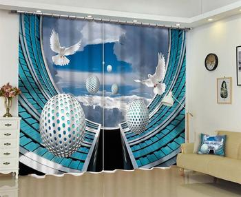 customize 3D Dove ball curtain for living room Bedroom hotel japanese window curtains modern 2019 curtains