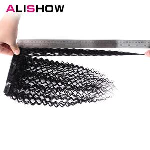 Image 4 - Alishow Indian Afro Kinky Curly Weave Remy Hair Clip In Human Hair Extensions Natural Color Full Head 10Pcs/Set 120G Ship Free